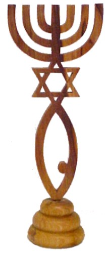 Messianic Seal Olivewood Stand Carving