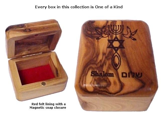 Olive Wood Shalom Box