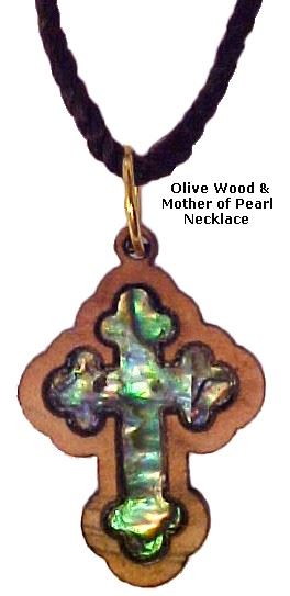 14 Stations Cross Olivewood & Mother of Pearl Necklace