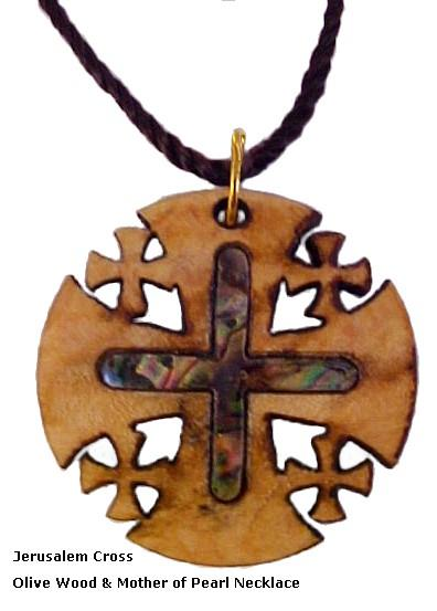 Jerusalem Cross Olivewood & Mother of Pearl Necklace
