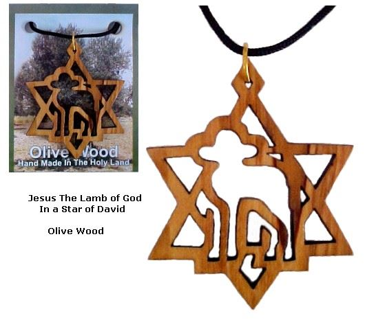 'Jesus The Lamb of God' and a Star of David Necklace