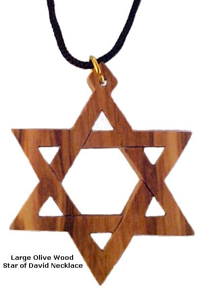 Large Olive Wood Star of David Necklace