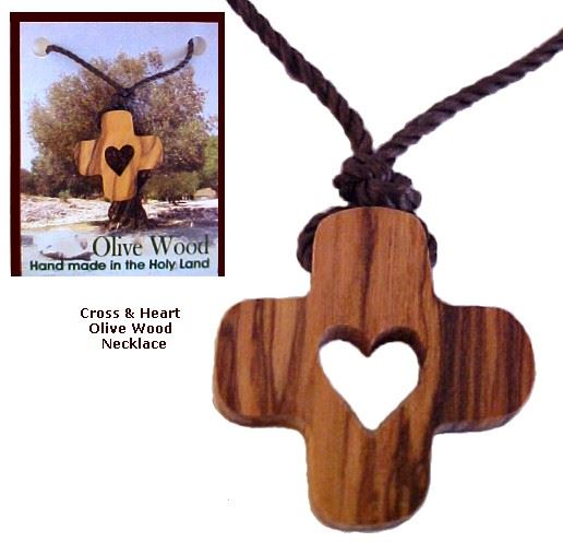 Olive Wood Cross N' Heart Necklace