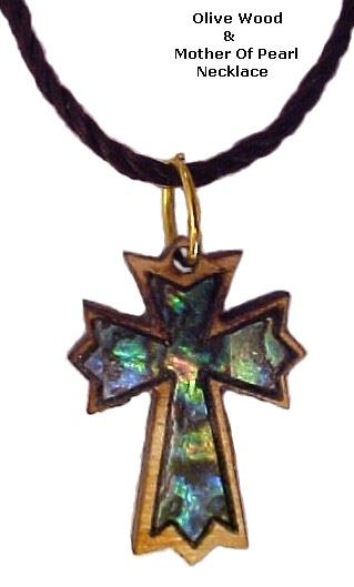 Ornate Latin Cross Olivewood & Mother of Pearl Necklace