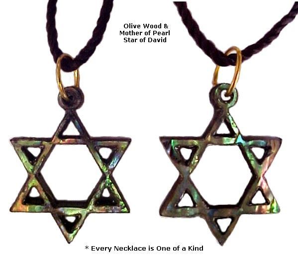 Star of David Olivewood & Mother of Pearl Necklace