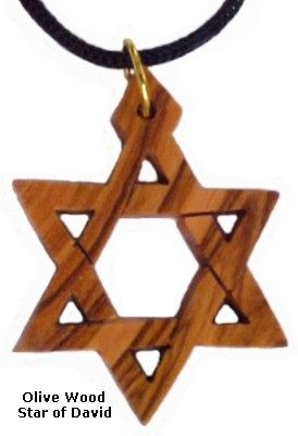 Small Olive Wood Star of David Necklace
