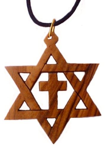 Olive Wood Star of David & Cross