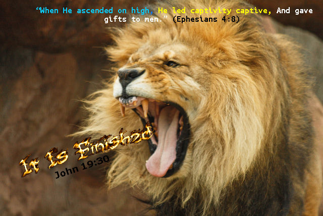 Lion It Is Finished Fire Text