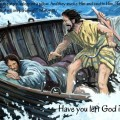 Jesus asleep in storm on boat.