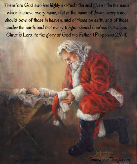 Santa Kneeling Before Jesus image.