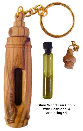 Olive Wood Key Chain with Bethlehem Anointing Oil