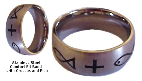 Ichthus Stainless Steel Comfort Fit Ring