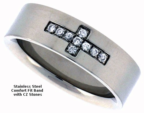 Stainless Steel Flat Band with CZ Stones Cross