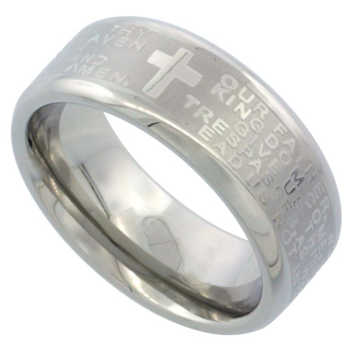Lord`s Prayer Comfort-Fit Stainless Steel Ring