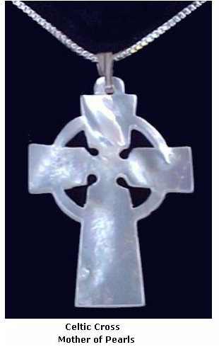 Mother of Pearl Celtic Cross Necklace