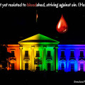 Teardrop of Blood on Rainbow White House at Dark